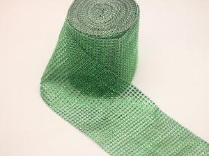 "`Лента декоративная ""имитация страз"", акрил, ширина 12 см, цвет зеленый"