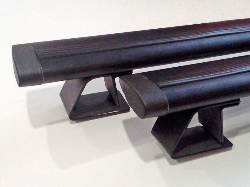 Багажная система на рейлинги Renault Duster 2 (2015-...), Delta, черные крыловидные дуги