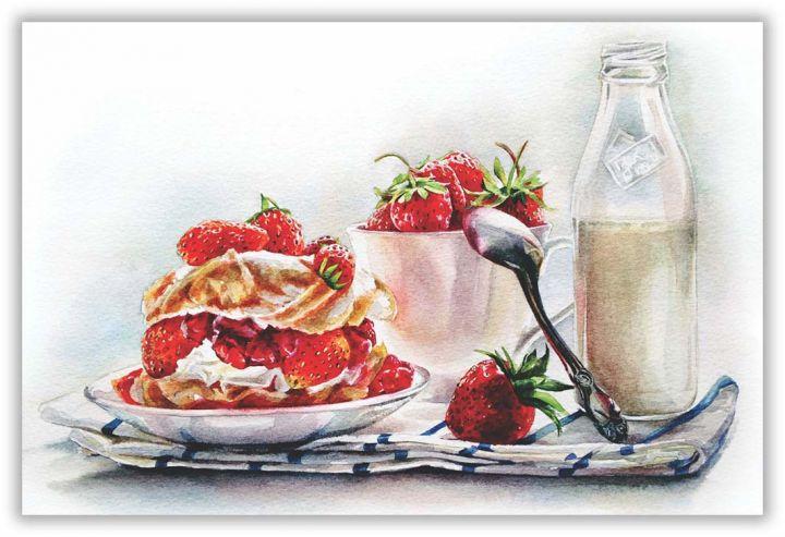Молоко и клубника