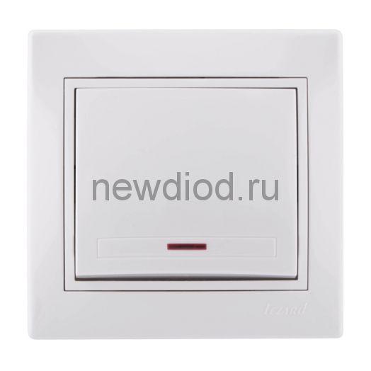 MIRA Выключатель одноклавишный с подсветкой белый с белой вставкой Lezard