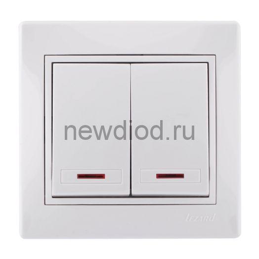 MIRA Выключатель двухклавишный с подсветкой белый с белой вставкой Lezard