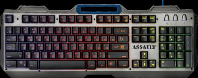Акция!!! Проводная игровая клавиатура Assault GK-350L RU,радужная,метал