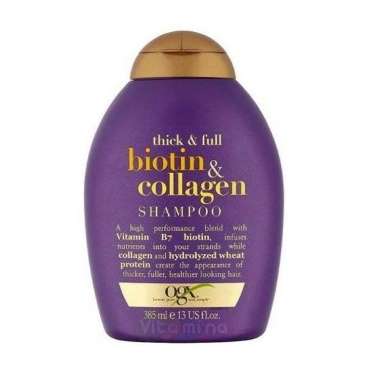 Ogx Шампунь для лишенных объема и тонких волос с биотином и коллагеном, 385 мл