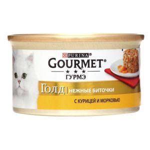 Консервы  Gourmet Gold для кошек нежные биточки с курицей и морковью 85 гр