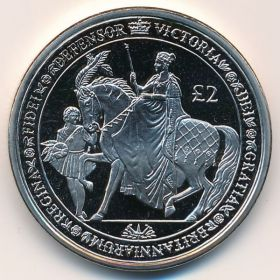 Королева Виктория(200 лет со дня рождения)  2 фунта Южная Георгия и Южные Сэндвичевы острова 2019