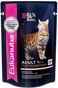 EUK Cat паучи корм для взрослых кошек с лососем в соусе 85 гр.
