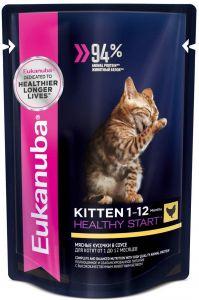 EUK Cat паучи корм для котят с курицей в соусе 85 г