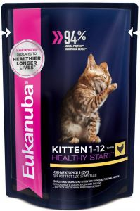 EUK Cat паучи корм для котят с курицей в соусе 85 гр.