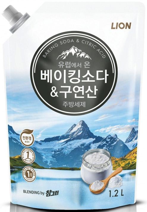 CJ Lion Средство для мытья посуды Chamgreen с содой и лимонной кислотой мягкая упаковка 1200 г