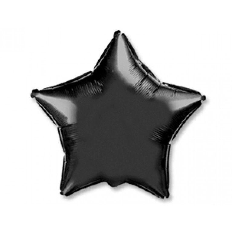 """Шар фольга без рисунка Звезда 18"""" черный  с гелием"""