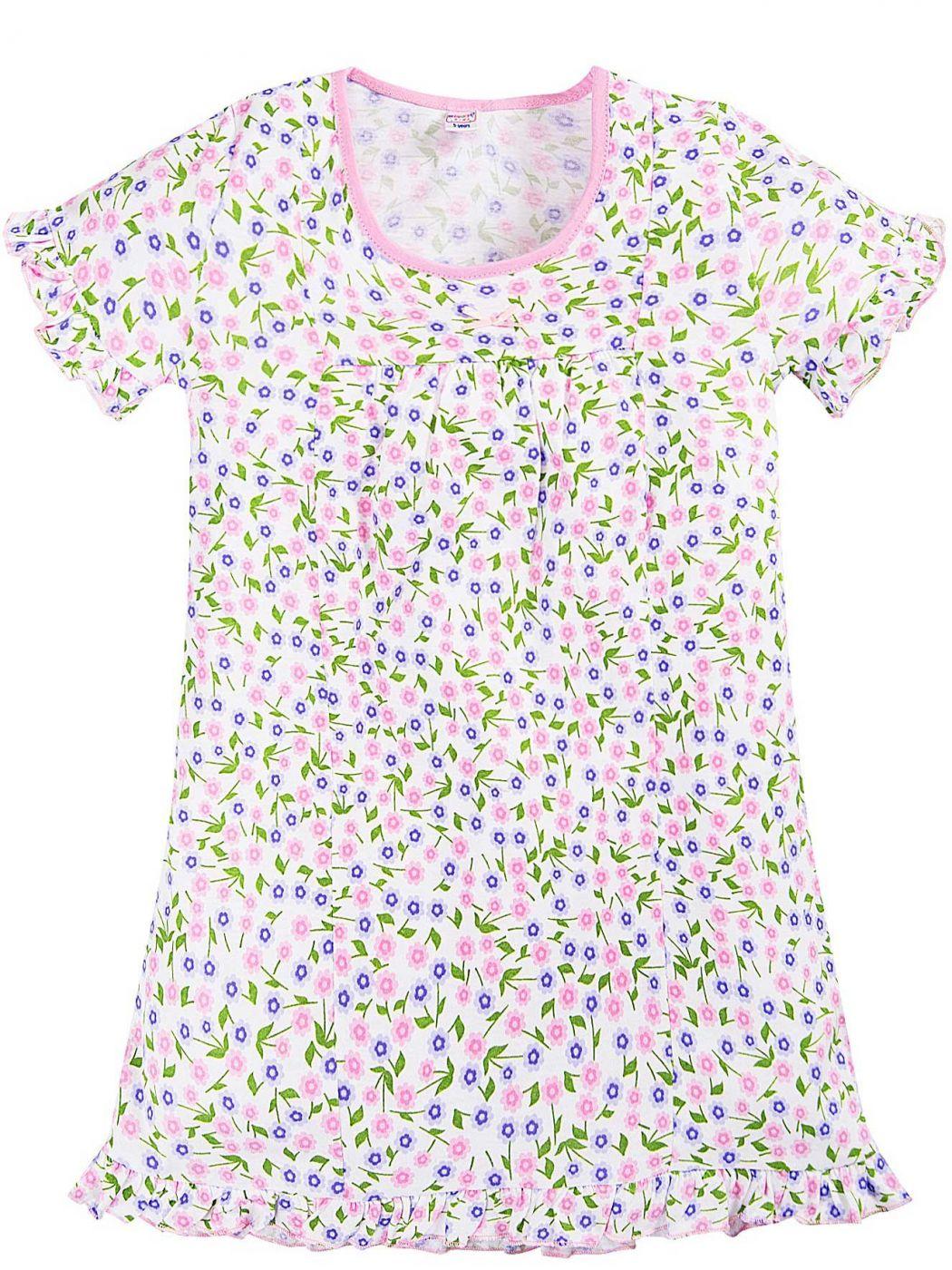 Сорочка для девочек белая с цветами