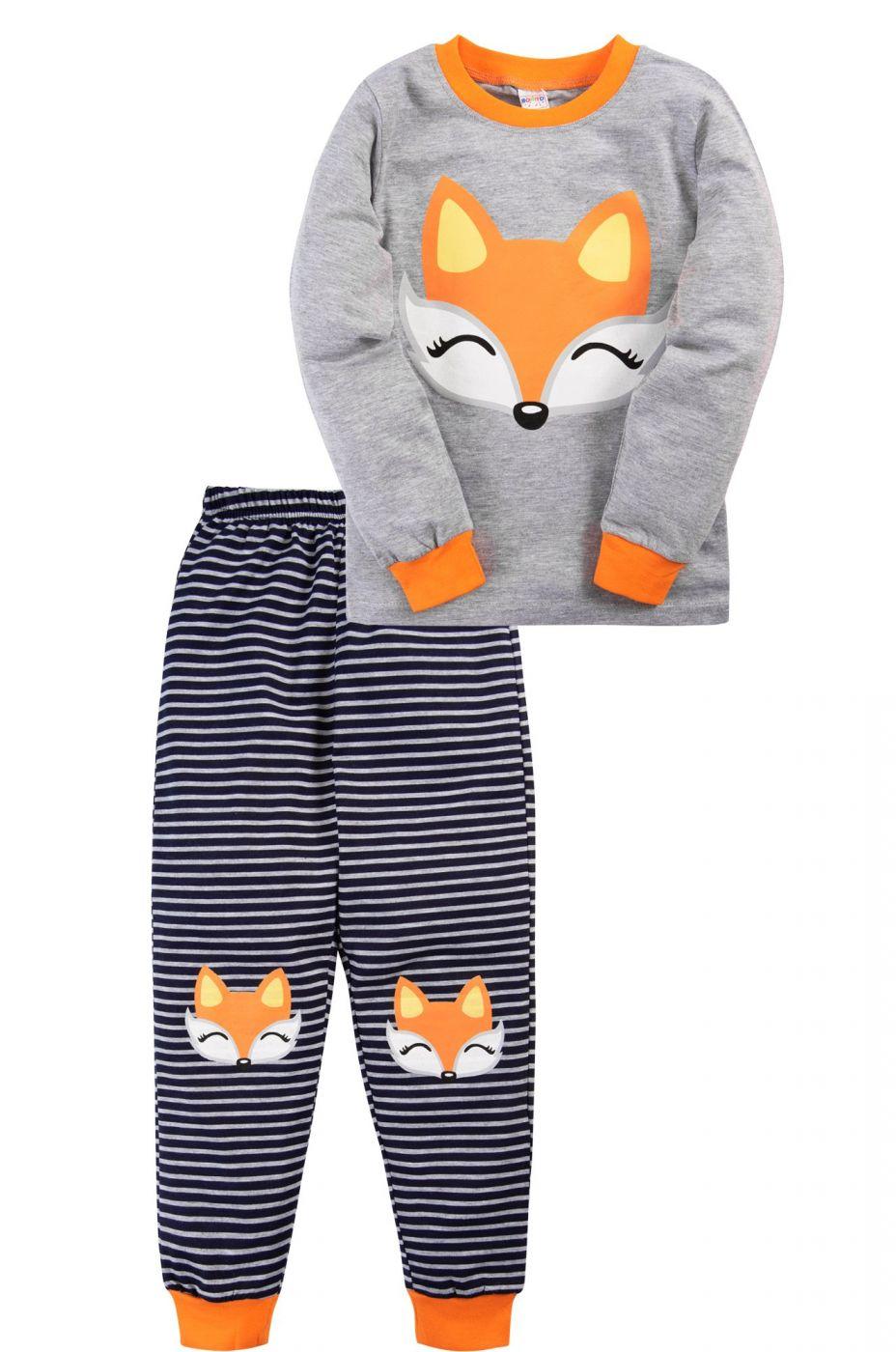 Пижама для девочки Bonito серая с мордочкой лисенка