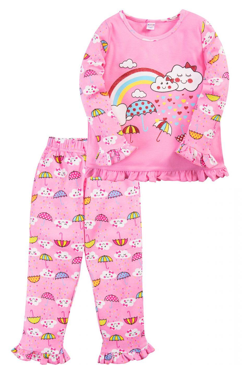 Пижама для девочки Bonito розовая радужный зонтик