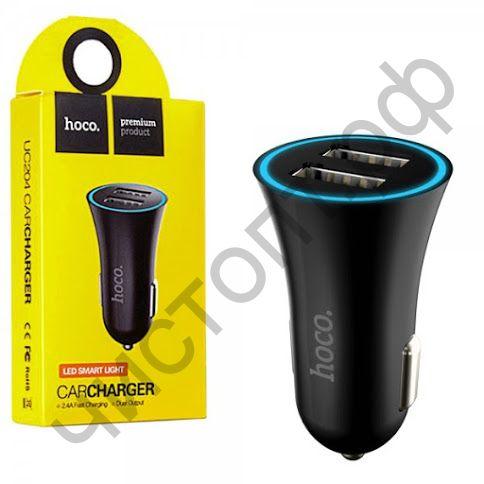 АЗУ HOCO UC204 с 2 USB выходами  2400mA ,  пластик, цвет: чёрный
