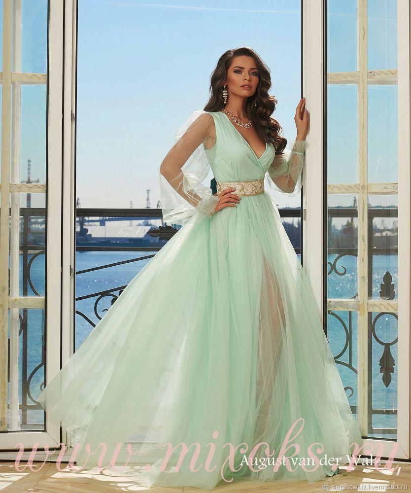 Вечернее платье мятное