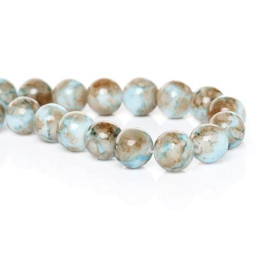 Бусина стеклянная, цвет белый с голубым, 10 мм, 15 шт/упак