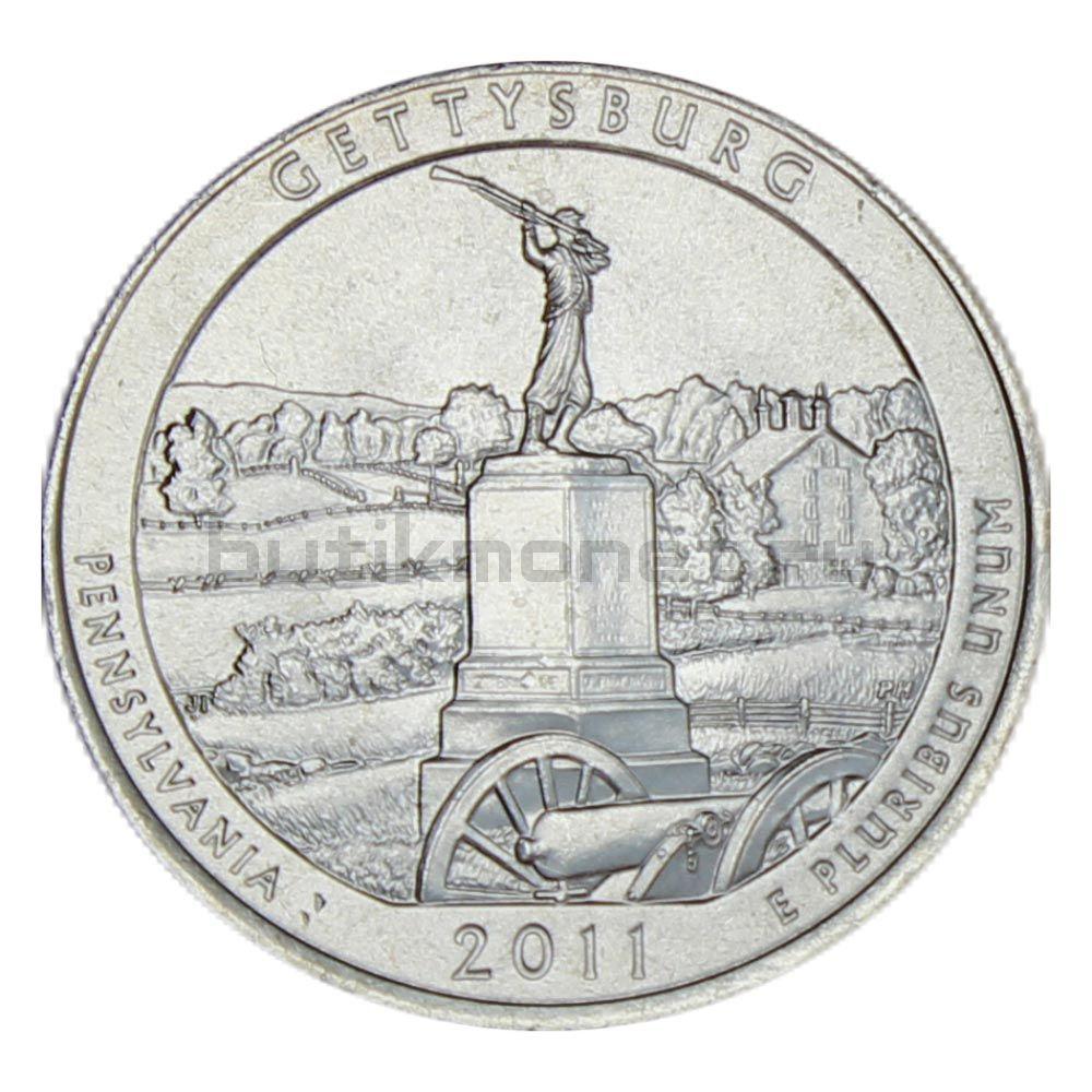25 центов 2011 США Национальный парк Геттисберг P