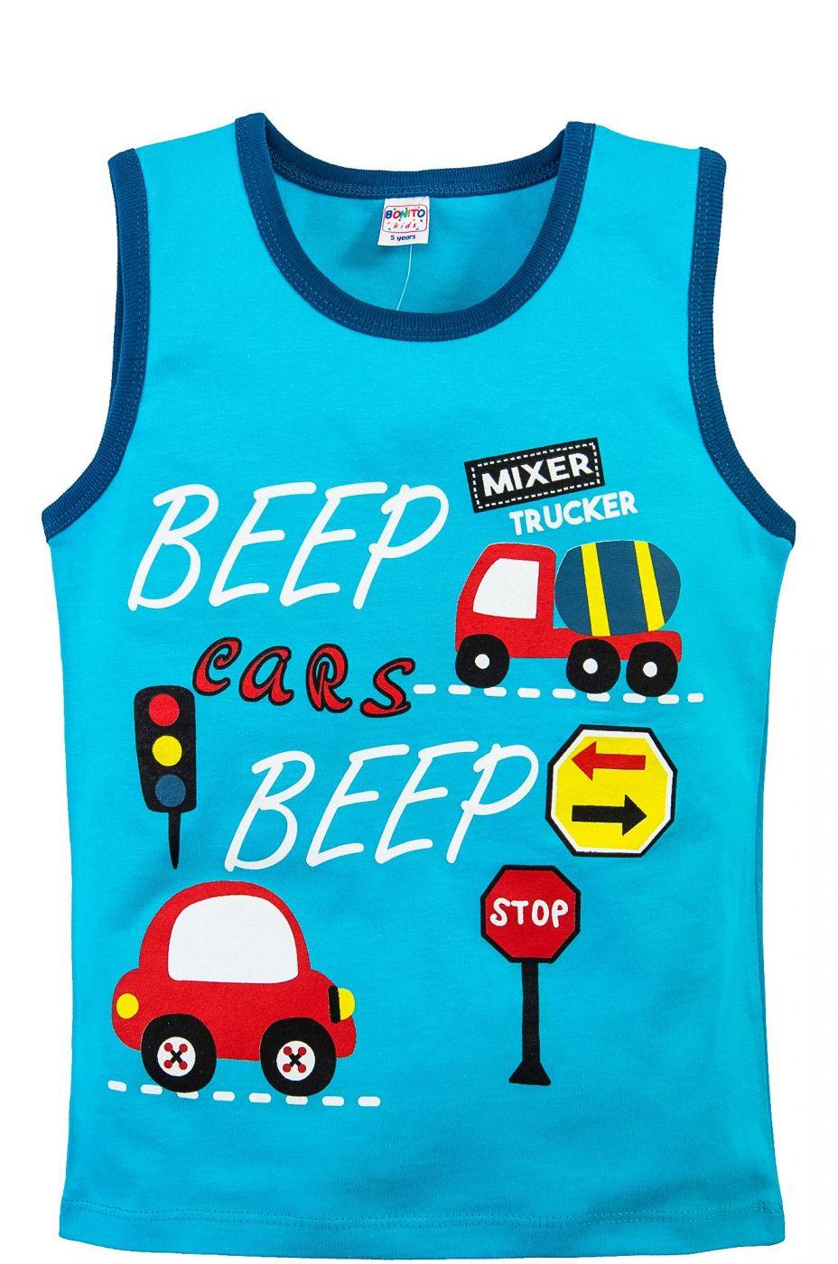 Майка для мальчиков Bonito голубая с машинками