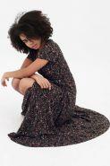 Платье в пол на запах с воланом темно-синее с цветочным принтом арт 388.1.3