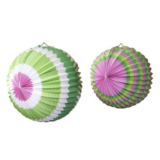 Бумажный шар (набор из 2 шт) Розово - Салатовый