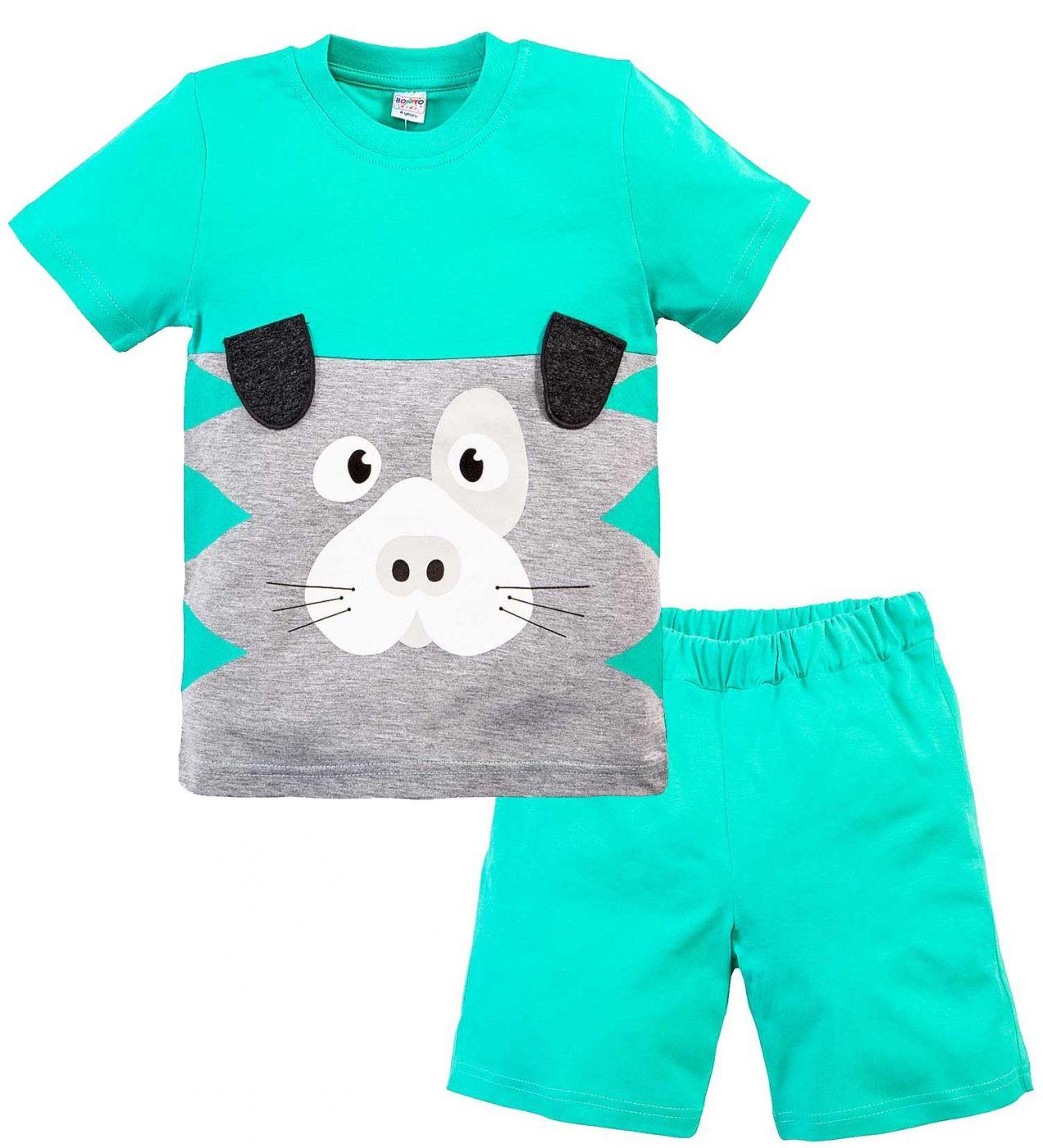 Костюм для мальчика Bonito зеленый с мордочкой собачки