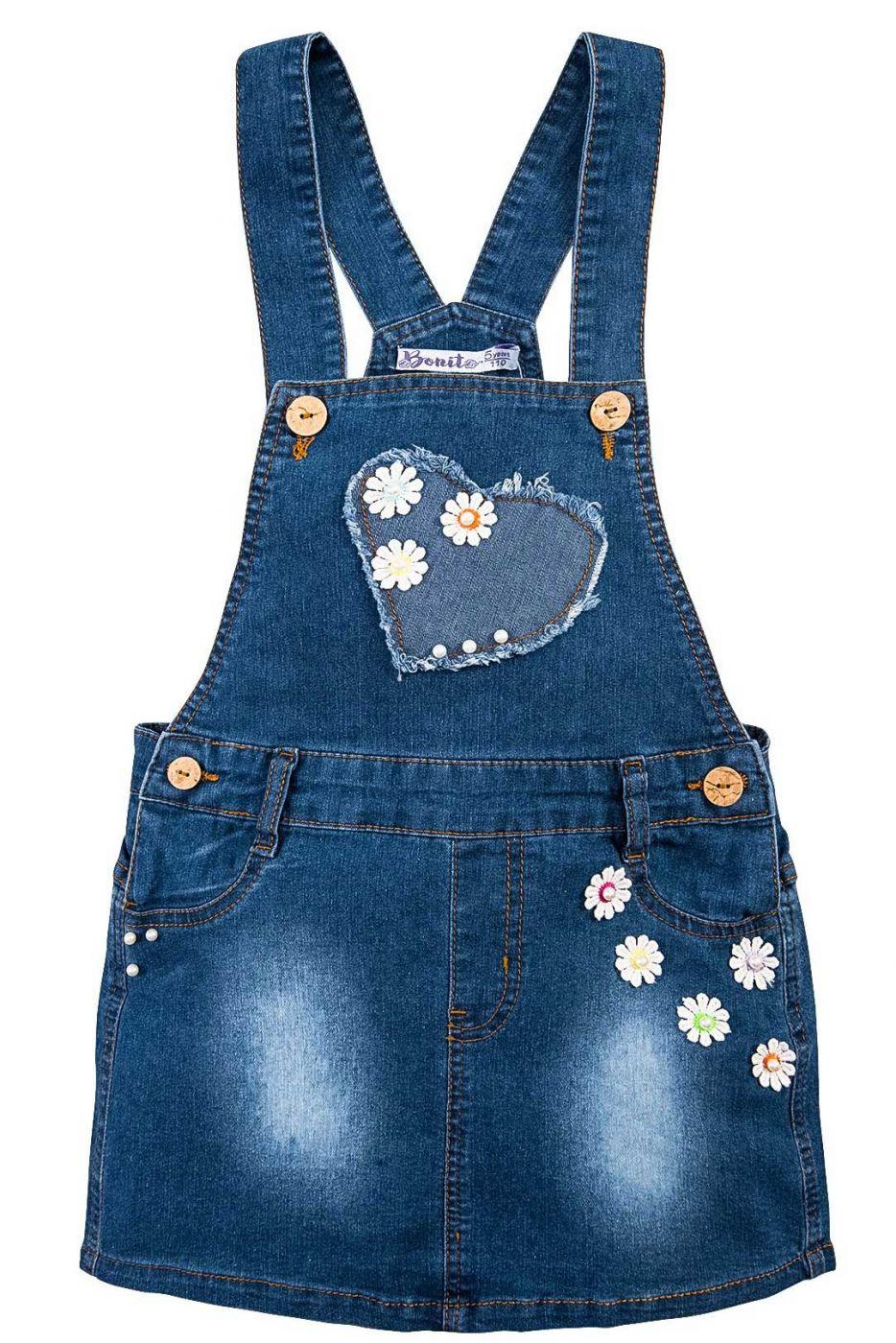 Сарафан джинсовый для девочки Bonito Jeans с цветочками