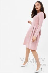 Платье с секретом на молниях, юбка со складками пудрово-розовое Артикул 366.2.9