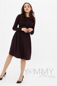 Платье с секретом на молниях, юбка со складками бургунди Артикул 366.2.8