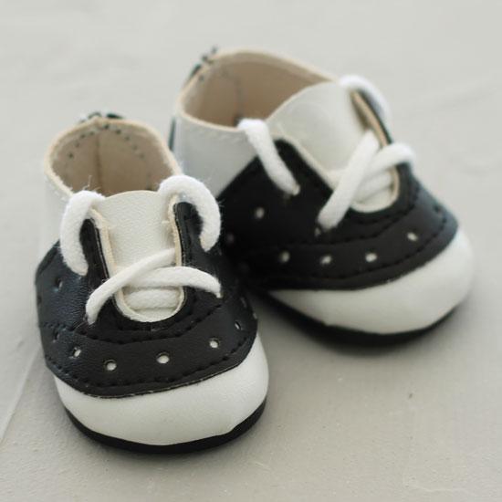 Обувь для кукол - мокасины 5 см (черно-белые)