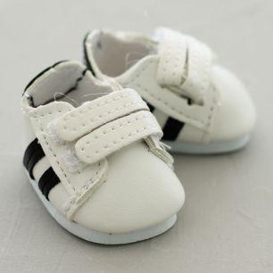 Обувь для кукол - кроссовки 4,5 см (белые с черными полосками)