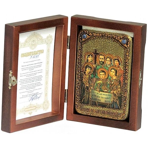 Инкрустированная настольная икона Святые царственные страстотерпцы (10*15 см, Россия) на натуральном мореном дубе, в подарочной коробке