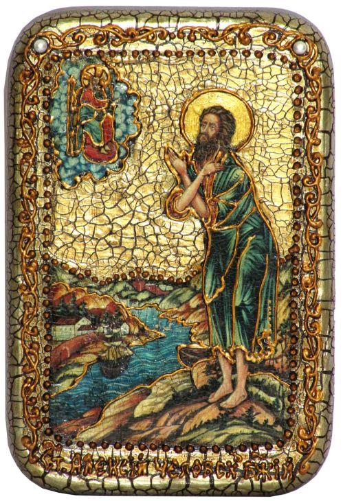 Инкрустированная настольная икона Преподобный Алексий, человек Божий (10*15 см, Россия) на натуральном мореном дубе, в подарочной коробке