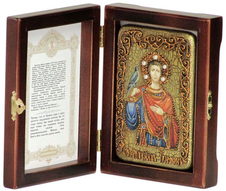 Инкрустированная настольная икона Святой мученик Трифон (10*15 см, Россия) на натуральном мореном дубе, в подарочной коробке