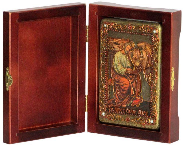 Инкрустированная настольная икона Святой апостол и евангелист Марк (10*15 см, Россия) на натуральном мореном дубе, в подарочной коробке