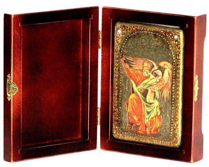 Инкрустированная настольная икона Святой апостол и евангелист Иоанн Богослов (10*15 см, Россия) на натуральном мореном дубе, в подарочной коробке