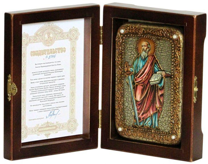 Инкрустированная настольная икона Первоверховный апостол Павел (10*15 см, Россия) на натуральном мореном дубе, в подарочной коробке