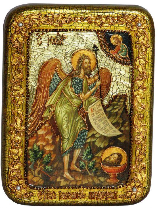 Инкрустированная подарочная икона Пророк и Креститель Иоанн Предтеча (15*20 см, Россия) на натуральном мореном дубе в подарочной коробке