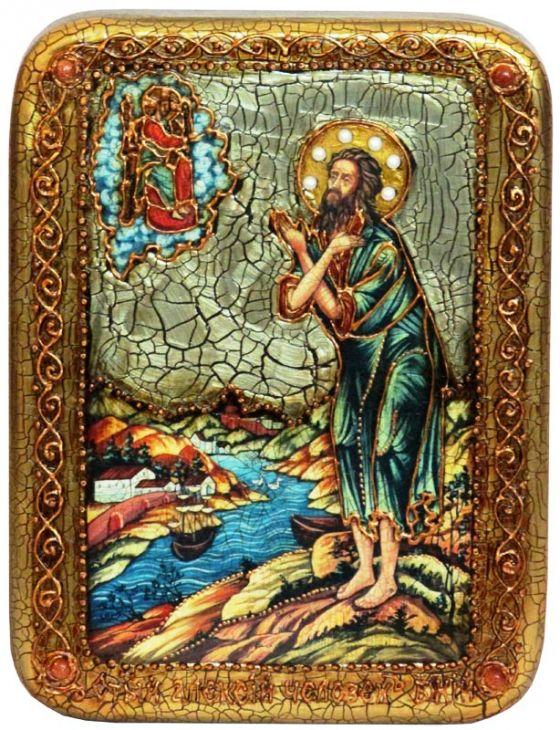 Инкрустированная подарочная икона Преподобный Алексий, человек Божий (15*20 см, Россия) на натуральном мореном дубе в подарочной коробке