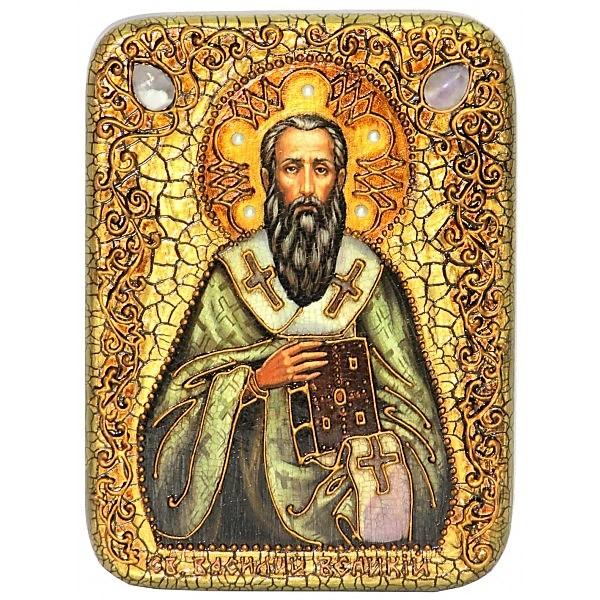 Инкрустированная икона Святитель Василий Великий (15*20 см, Россия) на натуральном мореном дубе в подарочной коробке