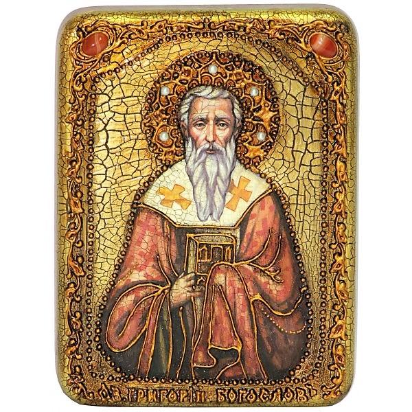 Инкрустированная подарочная икона Святитель Григорий Богослов (15*20 см, Россия) на натуральном мореном дубе, в подарочной коробке