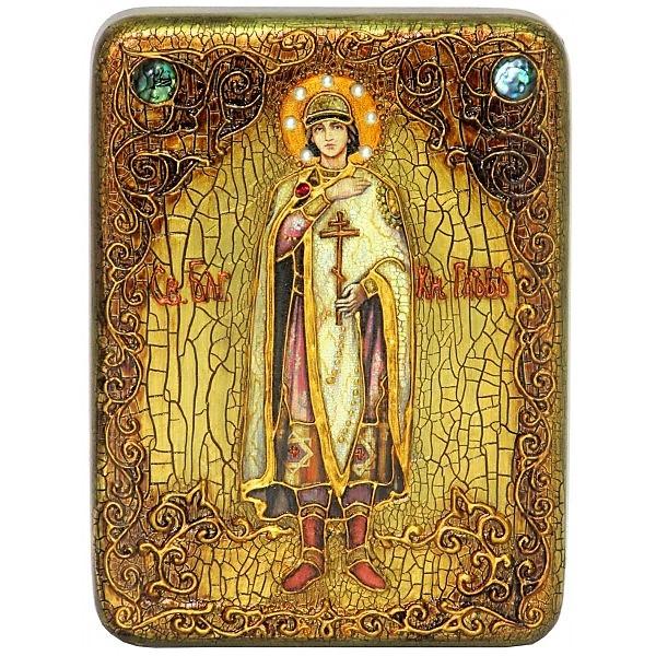 Инкрустированная подарочная икона Святой благоверный князь Глеб (15*20 см, Россия) на натуральном мореном дубе, в подарочной коробке