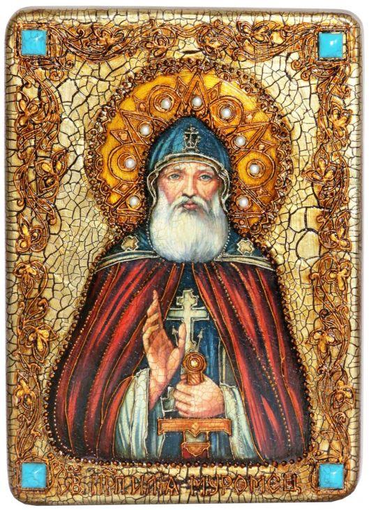 Инкрустированная аналойная икона Преподобный Илия Муромец, Печерский (21*29 см, Россия) на натуральном мореном дубе в подарочной коробке