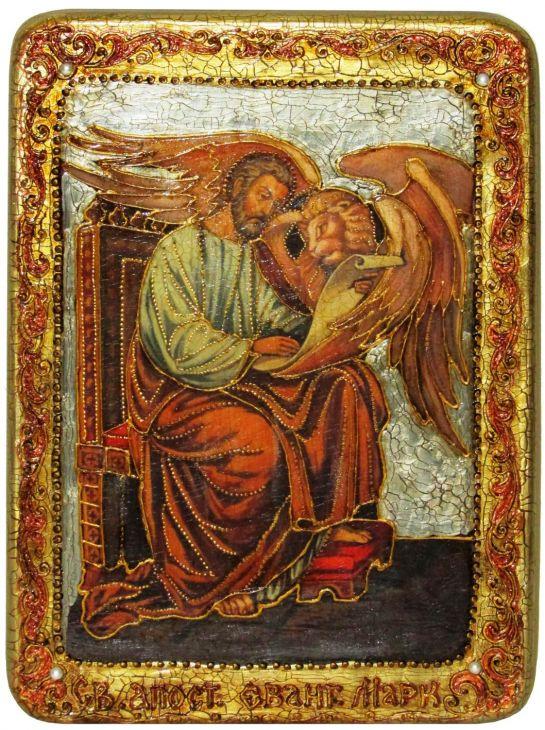 Инкрустированная аналойная икона Святой апостол и евангелист Марк (21*29 см, Россия) на натуральном мореном дубе в подарочной коробке