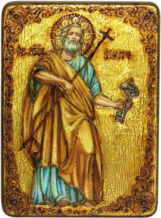 Инкрустированная аналойная икона Первоверховный апостол Петр (21*29 см, Россия) на натуральном мореном дубе в подарочной коробке