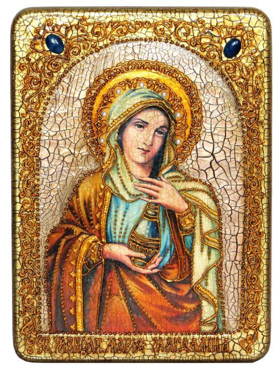 Инкрустированная аналойная икона Святая Равноапостольная Мария Магдалина (21*29 см, Россия) на натуральном мореном дубе в подарочной коробке