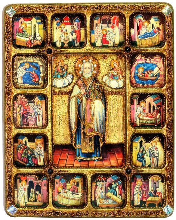 Инкрустированная большая икона Святитель Николай, архиепископ Мир Ликийский (Мирликийский), чудотворец с житийными сценами (30*37см, Н. Новгород) на мореном дубе в подарочной коробке