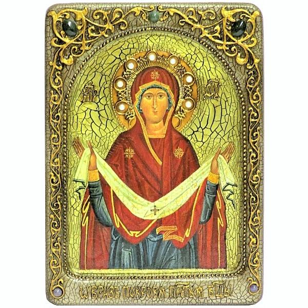 Инкрустированная Живописная икона Образ Божией Матери «Покров» (21*29 см, Россия) на натуральном мореном дубе, в подарочной коробке