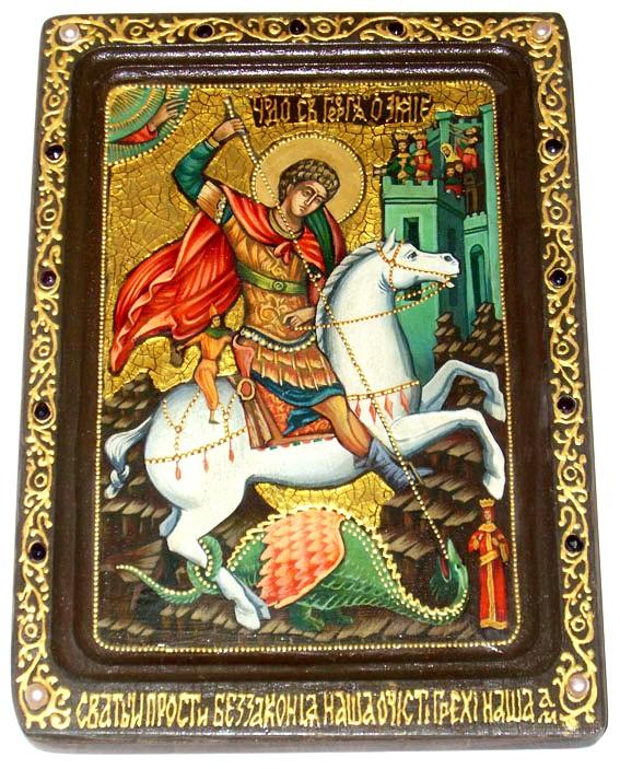 Инкрустированная Живописная икона Чудо святого Георгия о змие (21*29 см, Россия) на натуральном кипарисе в подарочной коробке
