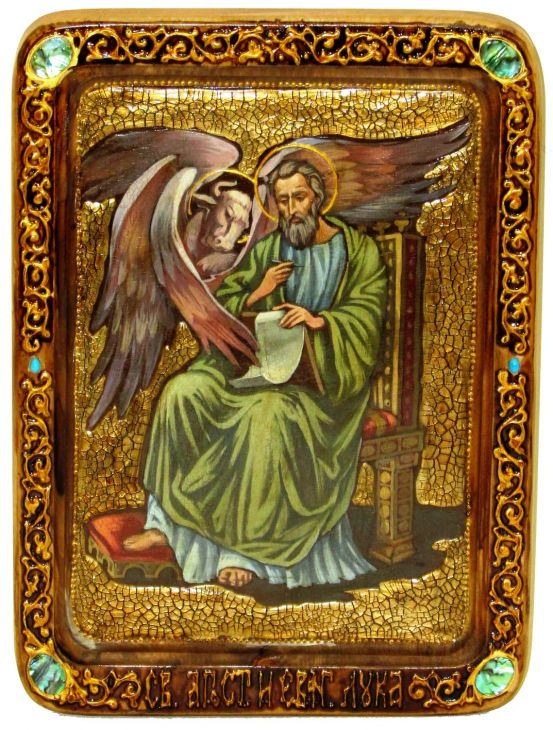Инкрустированная Живописная икона Святой апостол и евангелист Лука (21*29 см, Россия) на натуральном мореном дубе в подарочной коробке