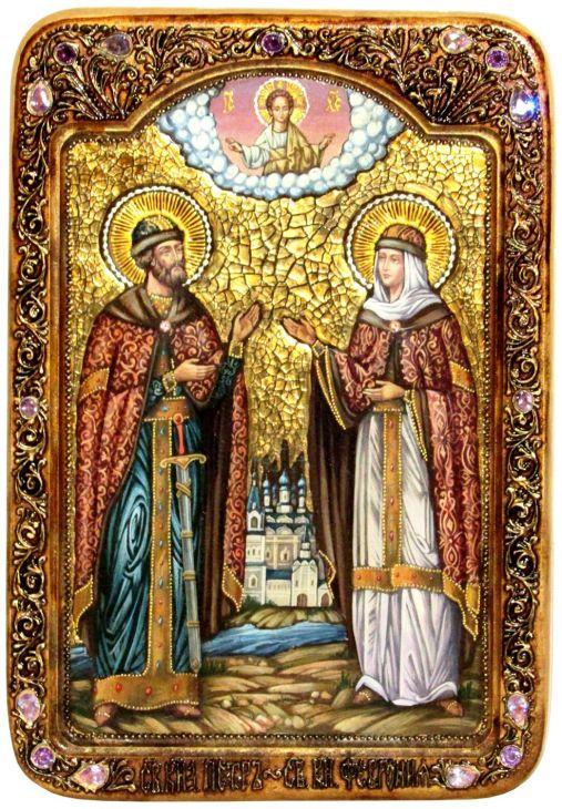 Инкрустированная Живописная икона Петр и Февронья (29*42 см, Россия) на натуральном кипарисе в подарочной коробке